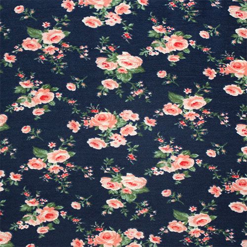 Vintage Roses On Navy Cotton Jersey Blend Knit Fabric Vintage Roses Fabric Rose Background