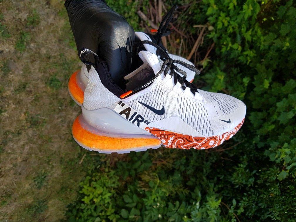 Bandana orange nike air max 270 custom sneakers in 2020