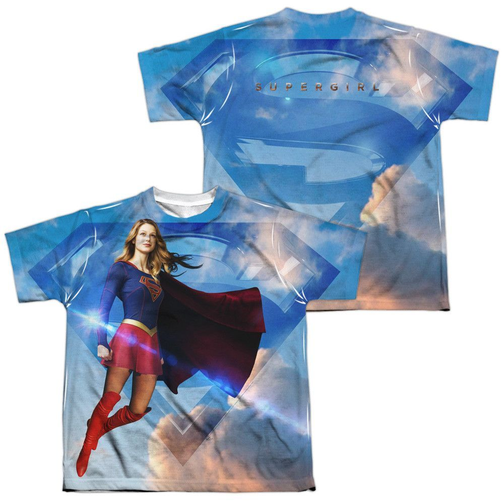 Supergirl Up In The Sky Allover Sublimation Licensed Adult T Shirt