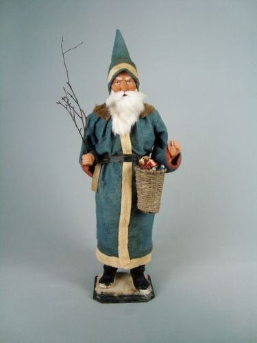 26 Paper Mache German Santa Candy Container Gr Blue By Paul Turner Cs17 025