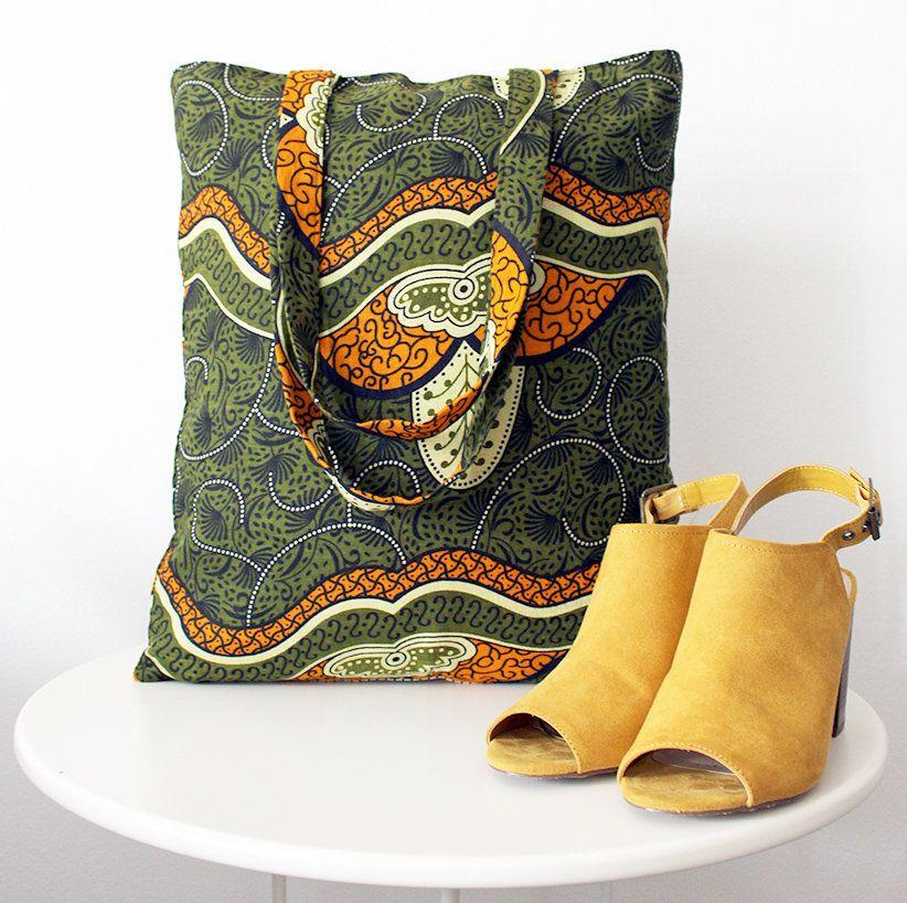 Borsa tessuto africano verde/arancione/giallo/nero, Shopping bag cotone Tanzania, tote bag, green/orange/yellow/black bag, handmade in Italy https://etsy.me/2Kec6FJ #bagsandpurses #green #orange #borsa #shoppingbag