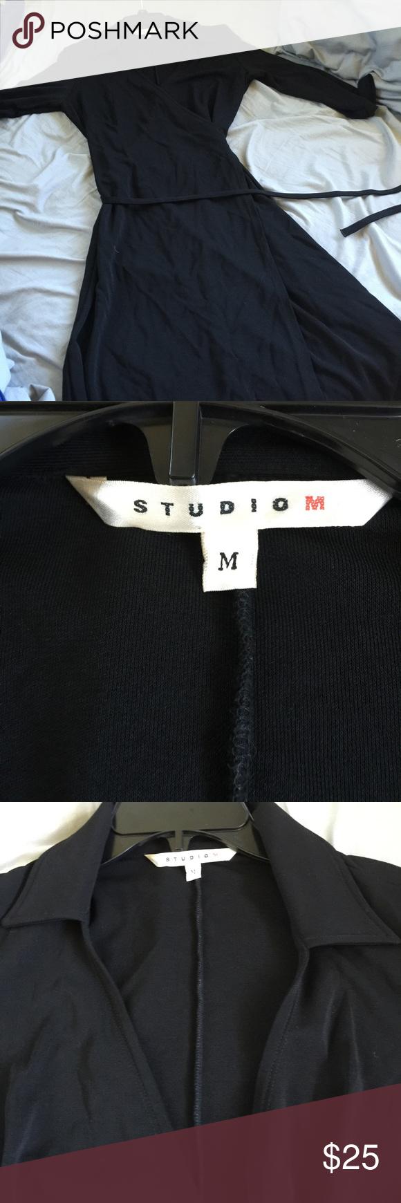 Studio M wrap dress. Size M black Studio M wrap dress. Real wrap dress nothing faux here. Black. Size M Studio M Dresses Midi