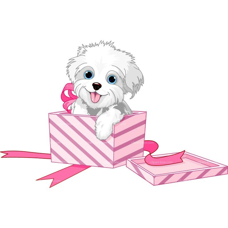 Clipart Puppy Dog In A Gift Box Royalty Free Vector Design