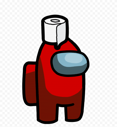 HD Red Among Us Crewmate Character With Toilet Pap