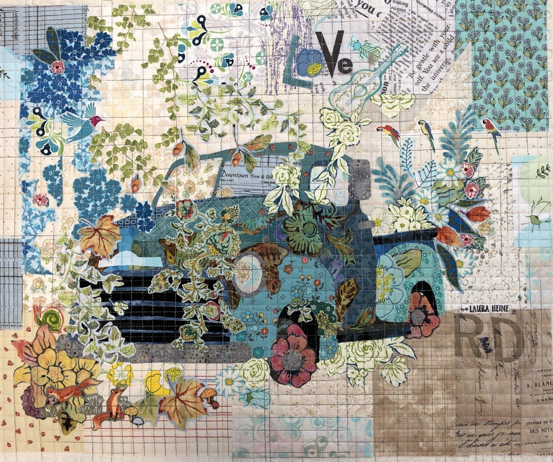 a Collage Quilt Pattern by Laura Heine of Fiberworks Old Blue