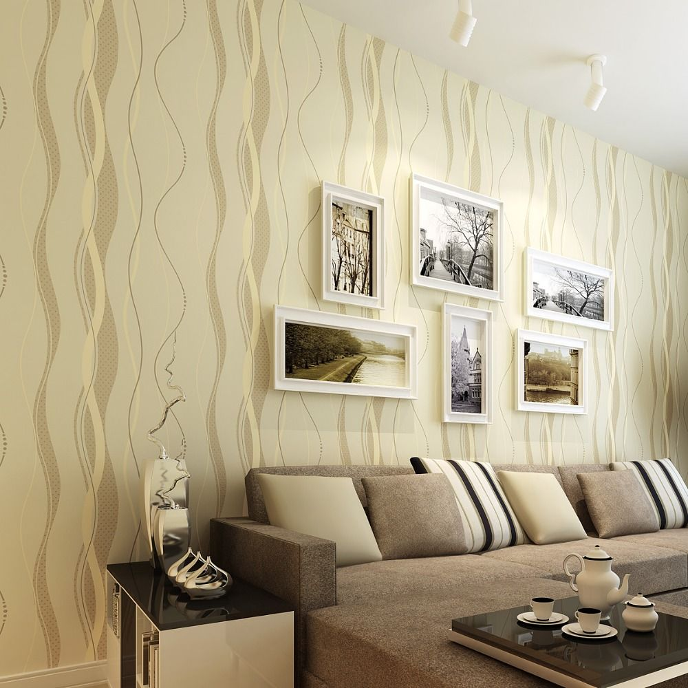 3D Striped wallpapers non woven Grey stripe wall paper for