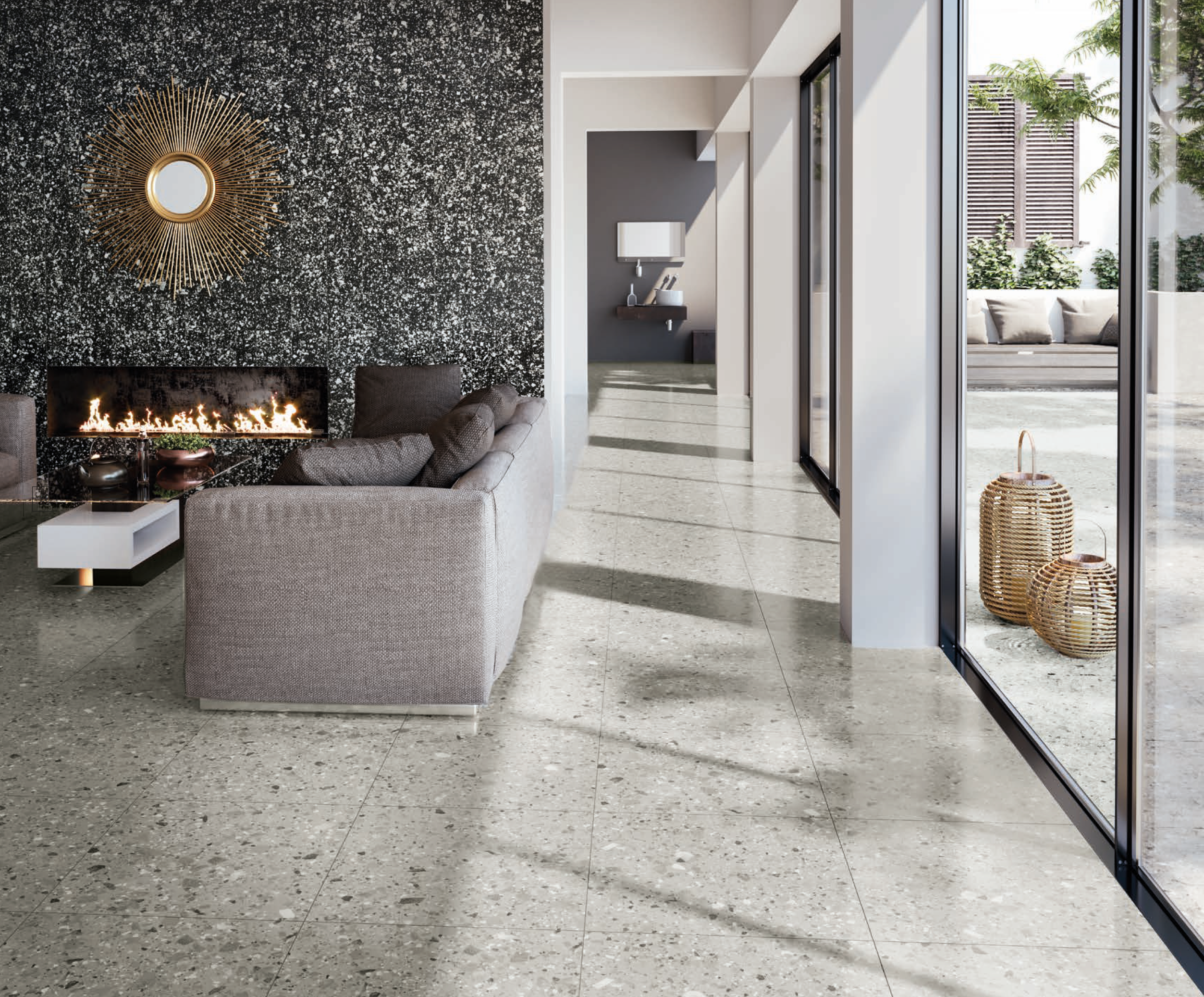 Vt 450 Is A Grey Coloured Terrazzo Look Porcelain Tile