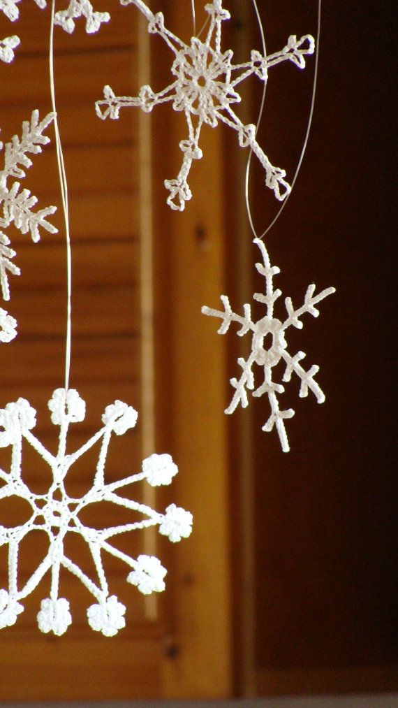 6 rustic Christmas lacy snowflakes crochet decoration by zolayka