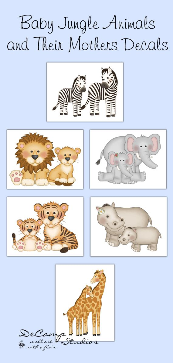 jungle baby animals and their mothers wall decals for baby boy or
