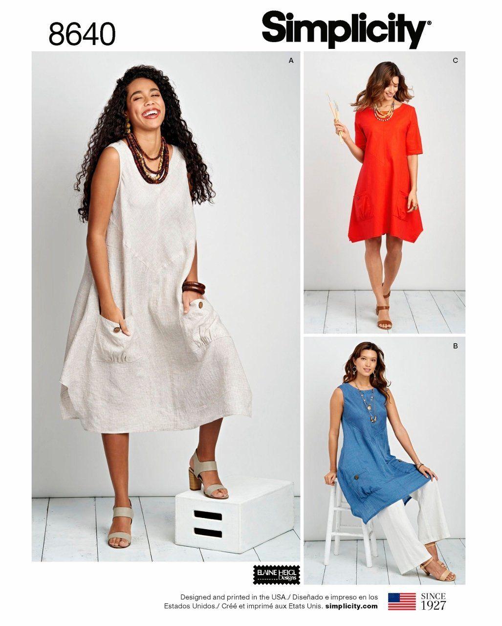 2f4ebf1f8cc4f Sewing Pattern Women's Tunic Dress Pattern, Misses Tunic Dress Pattern,  Loose Fit Dress Pattern, Simplicity Sewing Pattern 8640 by blue510patterns  on Etsy