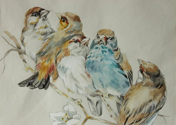 Vintage French bird watercolor. So sweet! LOVE the colors!