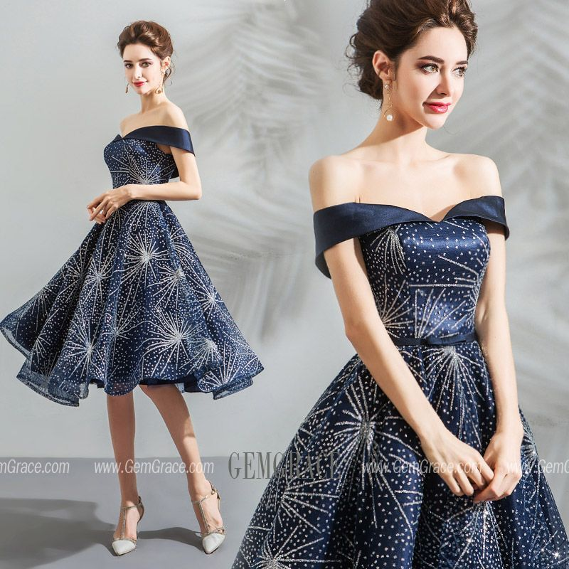 59e6f35774 Charming Sparkly Navy Blue Short Prom Dress With Off Shoulder #T69081 at  GemGrace. #