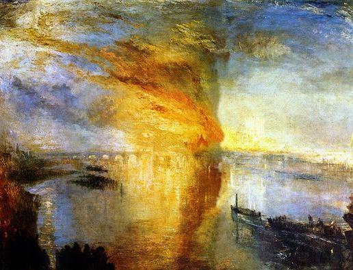 William Turner, L'incendie du Parlement, 1835, Huile sur toile, 92 x 123 cm, Philadelphia Museum of Art, Philadelphia