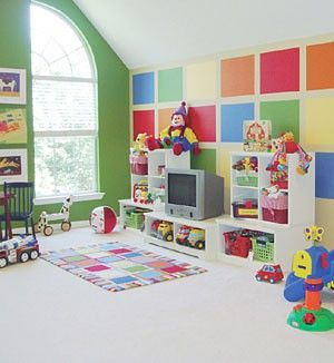 The whole family will want to play in a bright playroom created with 16 x 20 color rectangles.