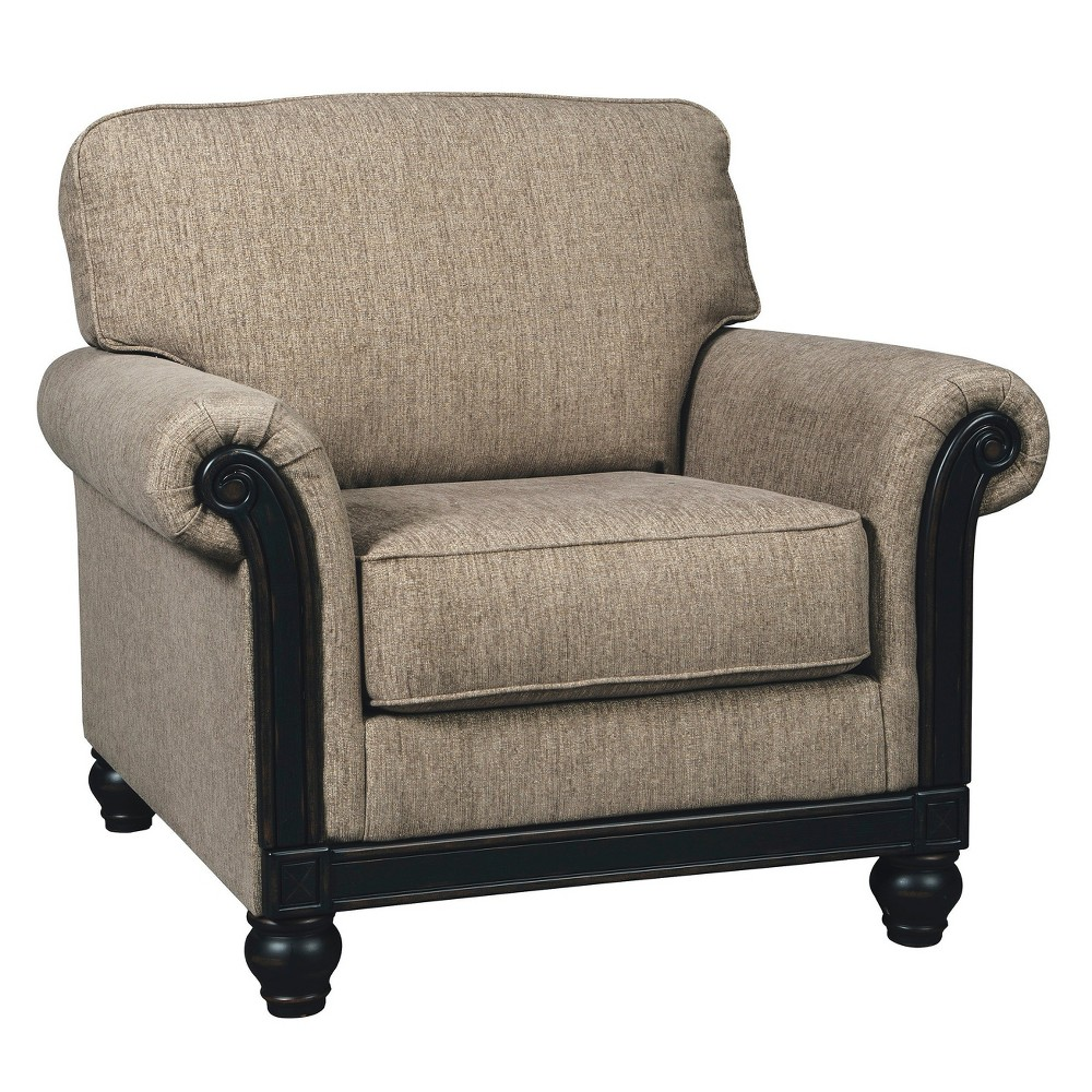 Accent chairs taupe brown signature design by ashley