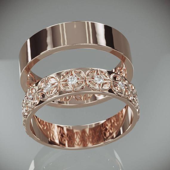14K Rose Gold Celtic Flower Wedding Rings Set with Diamonds