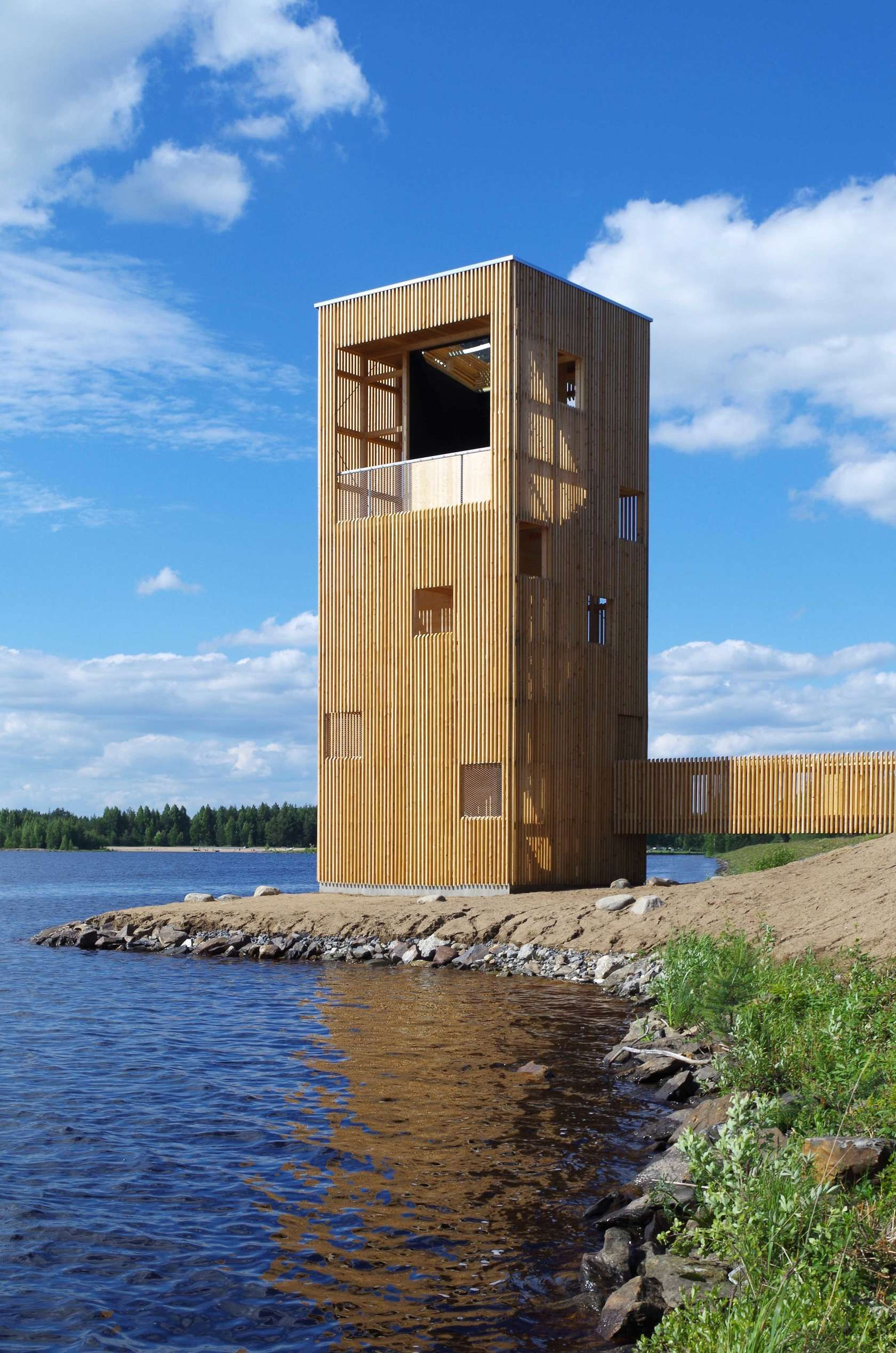 The Periscope Tower is a giant wooden periscope structure that serves as an  observation tower and engages the viewer in a dialogue with the landscape.