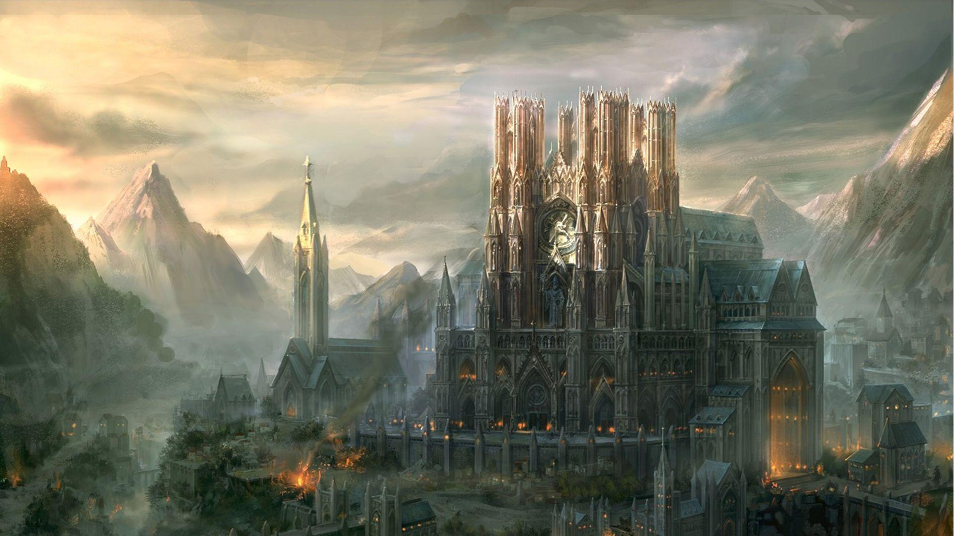 Fantasy City Kingdom Under Fire Wallpaper Fantasy City Fantasy Landscape Fantasy Castle