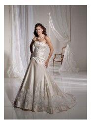 Paris Satin Strapless sparkling beading Bodice A-line Wedding Dress