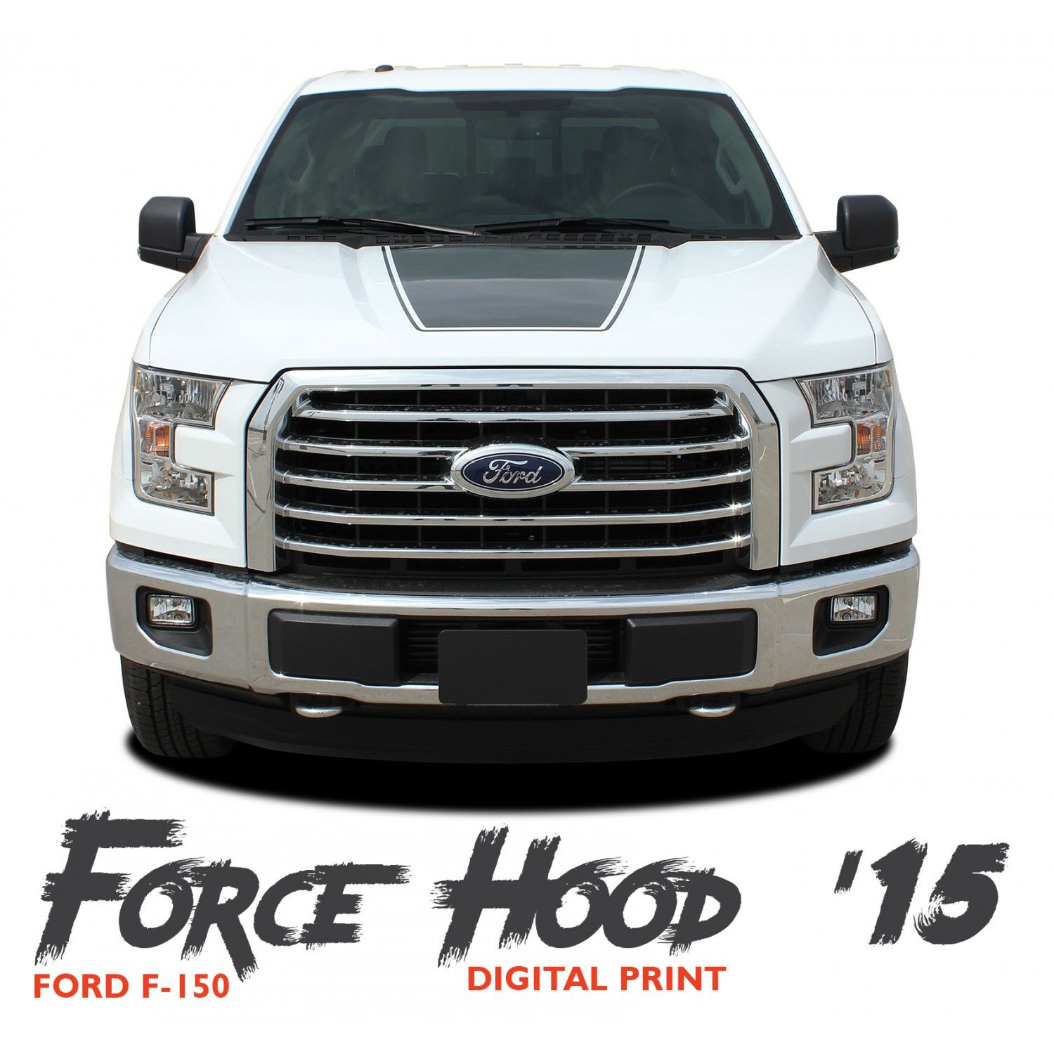 Ford f 150 force hood 15 digital appearance package center wide hood vinyl graphic decal