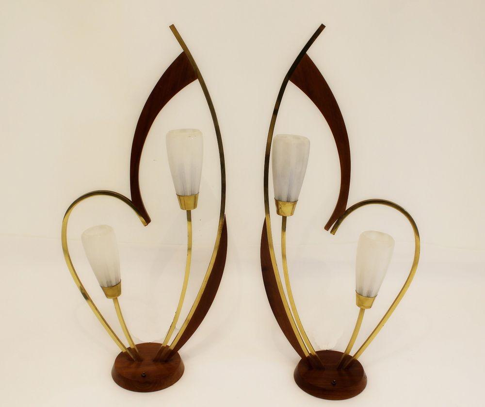 Mid Century Modern Danish Pair of Sculptural Walnut Brass Heart Lamps Modeline #MidCenturyModern