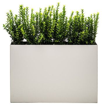 Modern Trough Planter, Dove, Low Modern Outdoor Planters