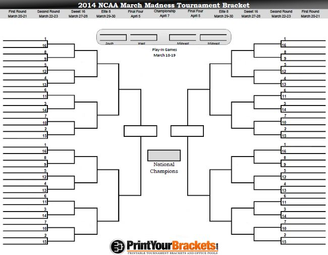 Printable March Madness Bracket Print Men S Ncaa Tourney 2014 March Madness Bracket Ncaa Bracket March Madness Tournament