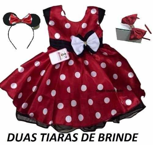 5e440d46568325 Vestido Infantil Festa Minnie Vermelho Com Tiara Minie - R$ 98,90 ...