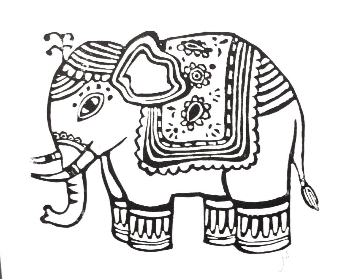 Thai Elephant Drawing