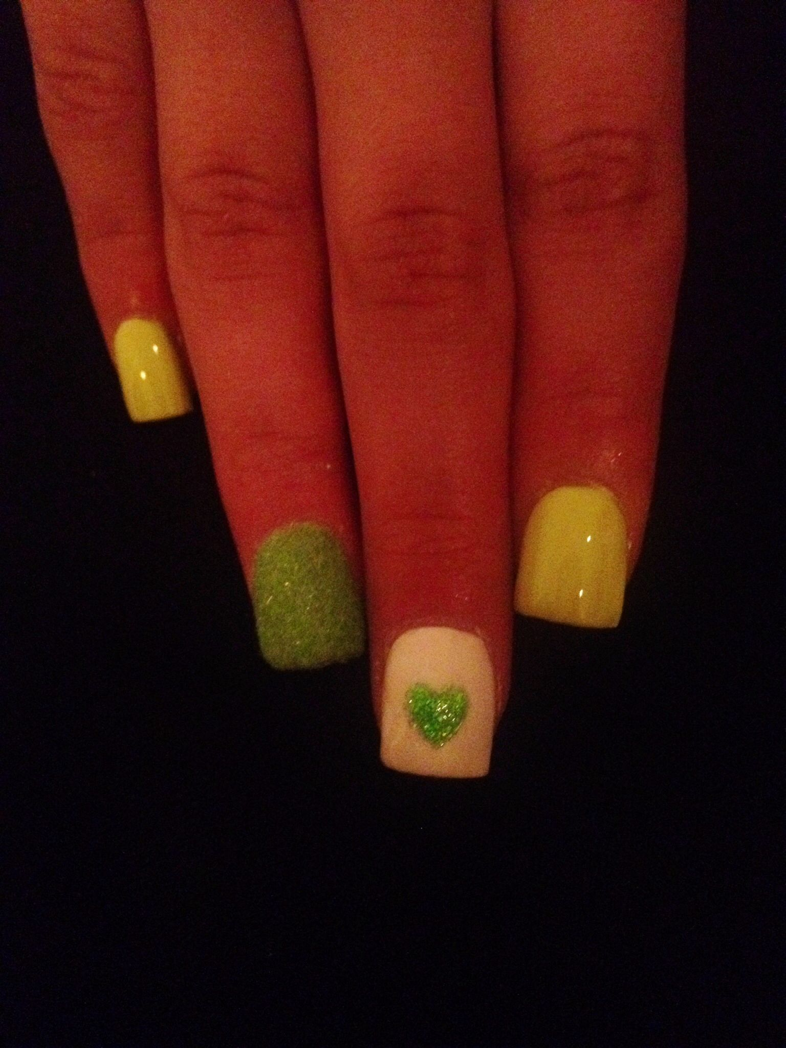 Green Tones With A Fuzzy Nail *Sorry about the poor picture quality ...