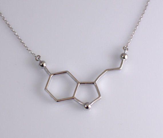 d354cf8351bdf Silver Serotonin Molecule Necklace, Chemistry Necklace, Hormone ...