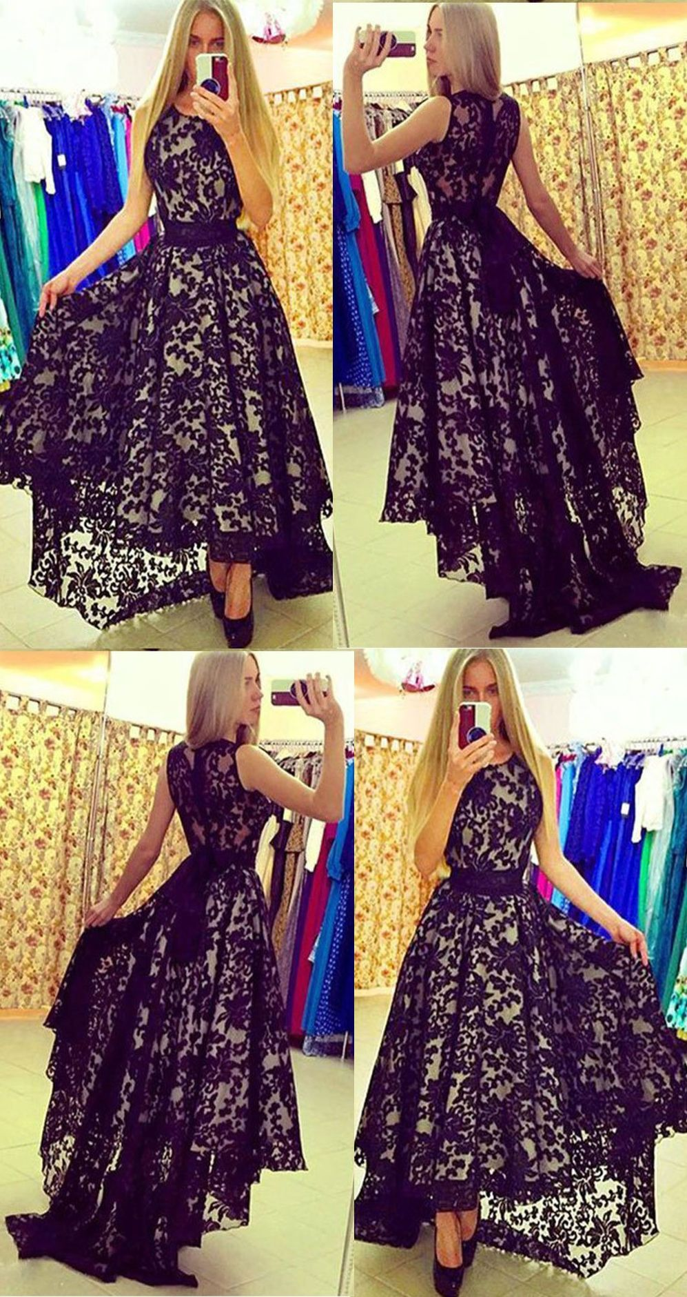 High low prom dresses scoop aline black prom dress lace evening