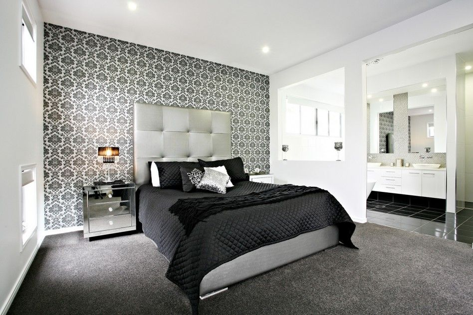 Bedroom wonderful black and white bedroom decoration with for Black and grey bedroom wallpaper