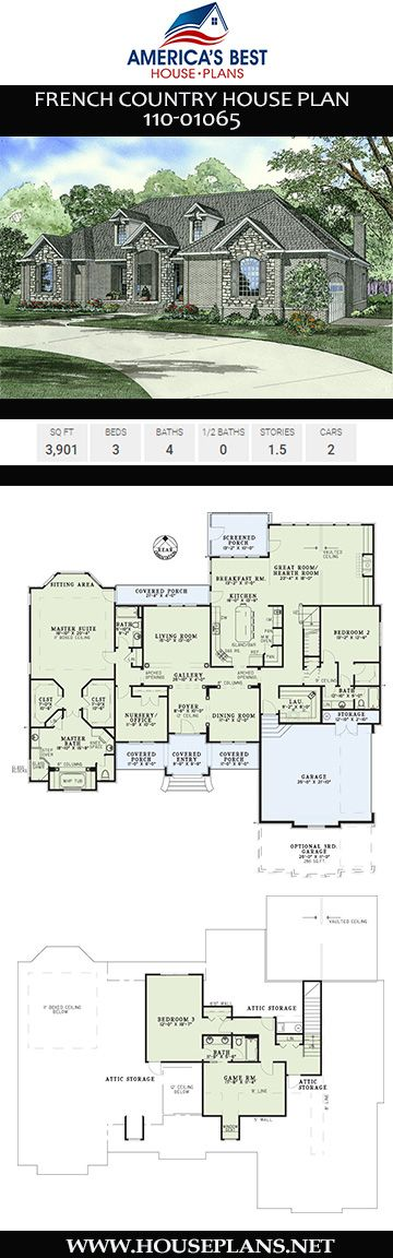 House Plan 110 01065 French Country Plan 3 901 Square Feet 3 Bedrooms 4 Bathrooms In 2020 French Country House Plans Country House Plan French Country House