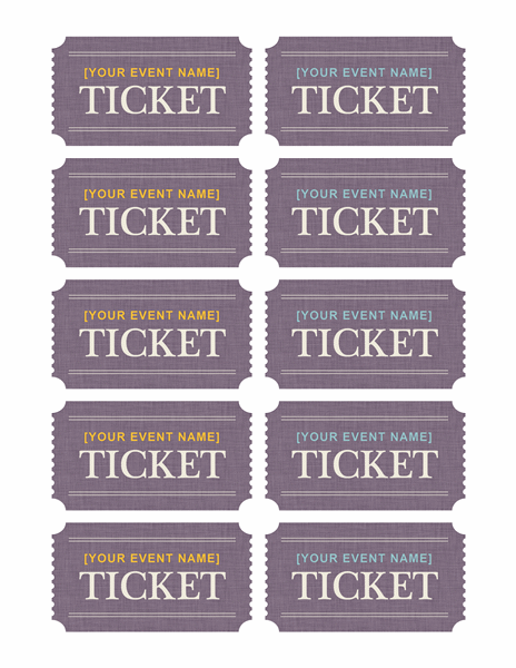 basic tickets per page templates free on line