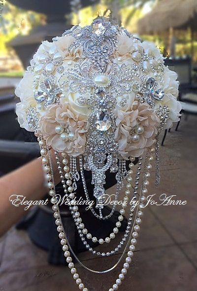 Benutzerdefinierte Kaskade Braut Brosche Bouquet, rustikale Glam Cascading Perle Brosche BRAUTSTRAUß, thematisieren Strauß, Anzahlung nur
