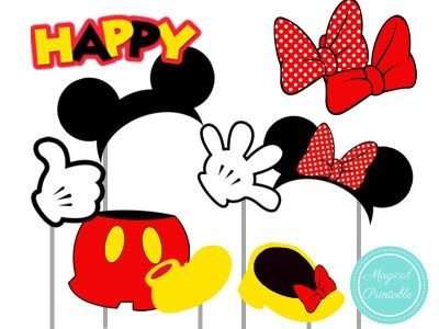 Mickey Mouse And Minnie Red Photo Booth Props