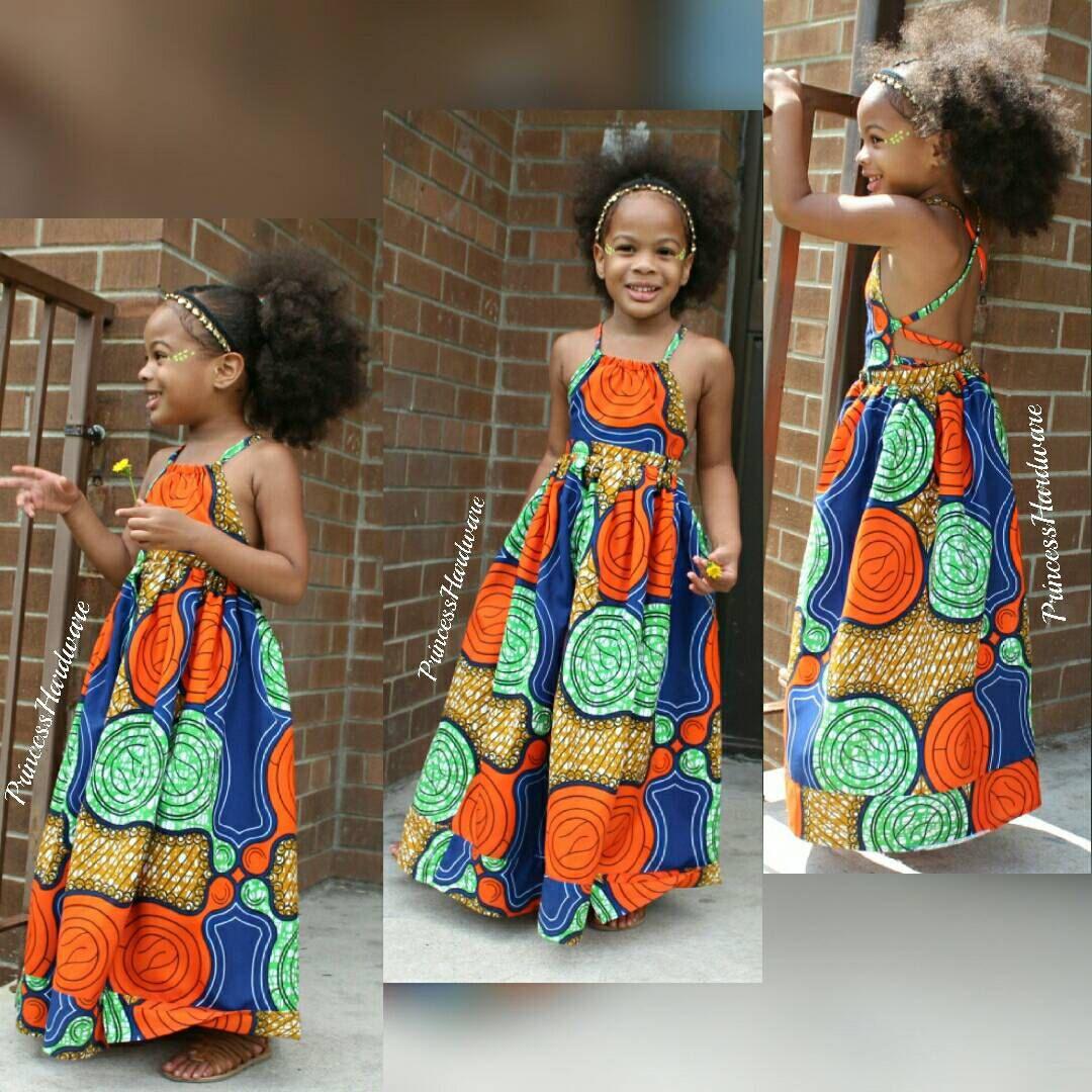 Kids African print apparel summer dresses Girls Ankara wax print outfit