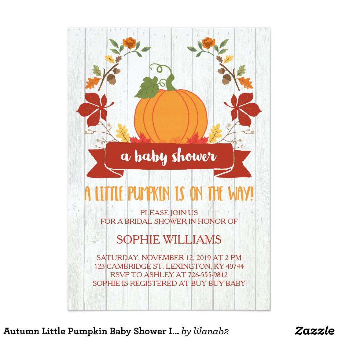 Autumn Little Pumpkin Baby Shower Invitation | Light wood texture ...