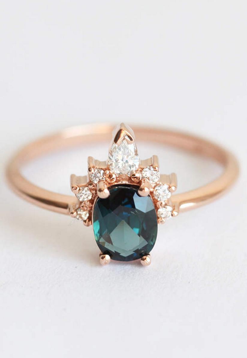 Teal Blue Sapphire Ring MinimalVS on Etsy Emerald