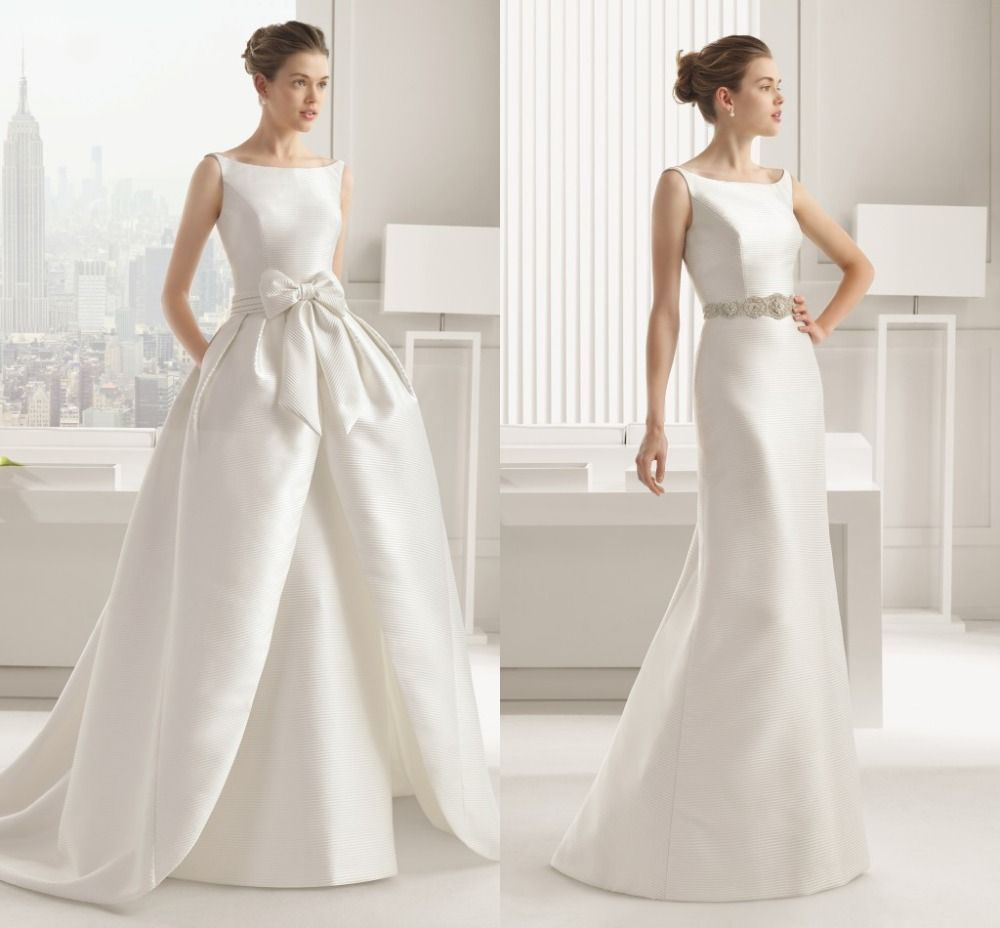 Aliexpress Buy New Style Detachable Train Wedding Dresses 2015 White Charmeuse Bride Dress Ball Gown Romantic Long Court Free Shipping
