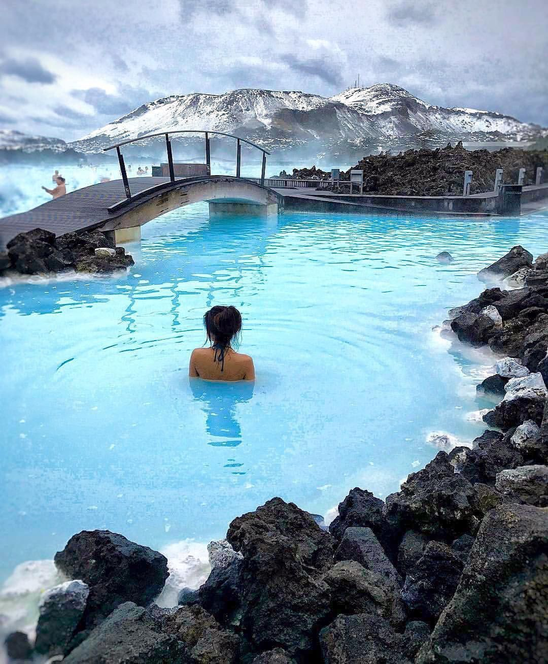 Relaxing In A Natural Hot Springs At Blue Lagoon, Iceland