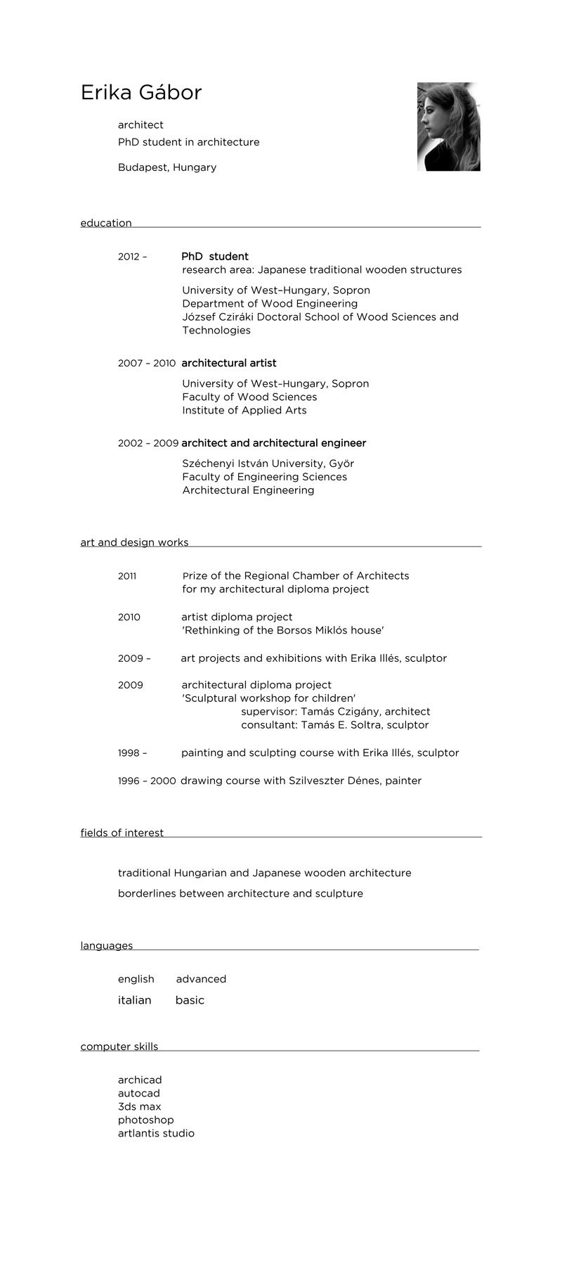 cv _ erika gabor Engineering science, Phd student