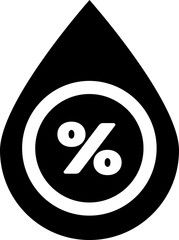 Black Water drop percentage icon isolated on white ...