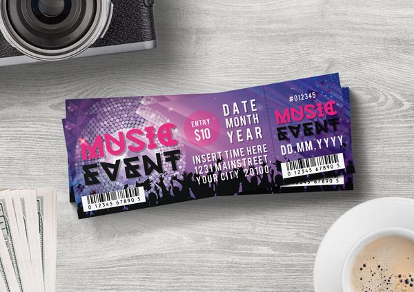 Ticket Template For Only 6 Ticket Template Event Ticket