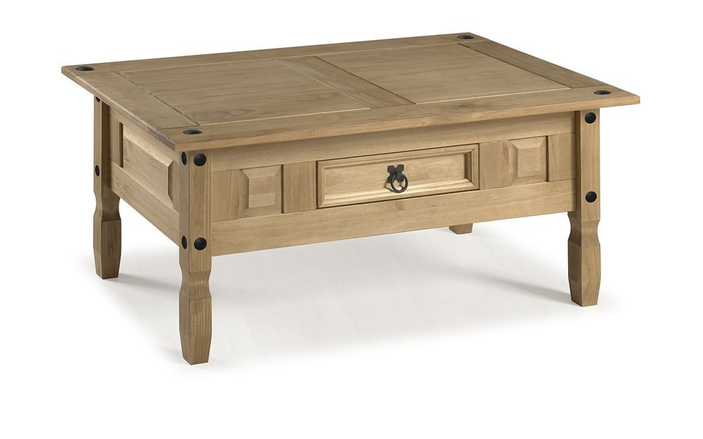 Corona Coffee Table Solid Pine Wood Made Antique Wax Finish Mexican