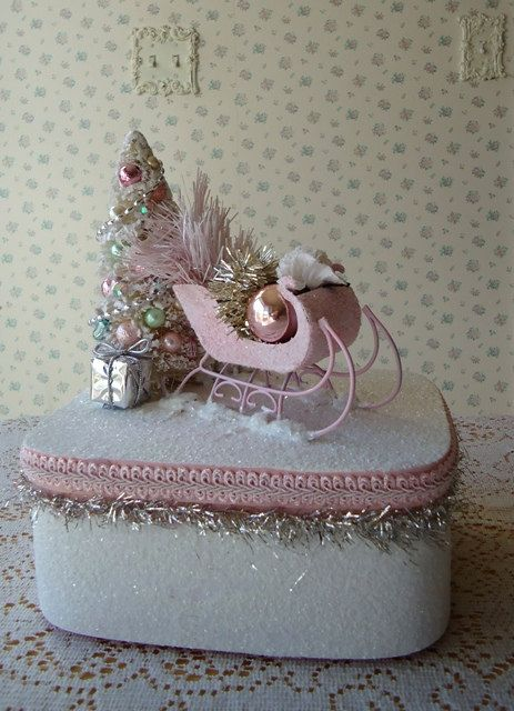 Pink Sleigh Box  Bottle Brush Tree and Mercury by IllusiveSwan, $32.00