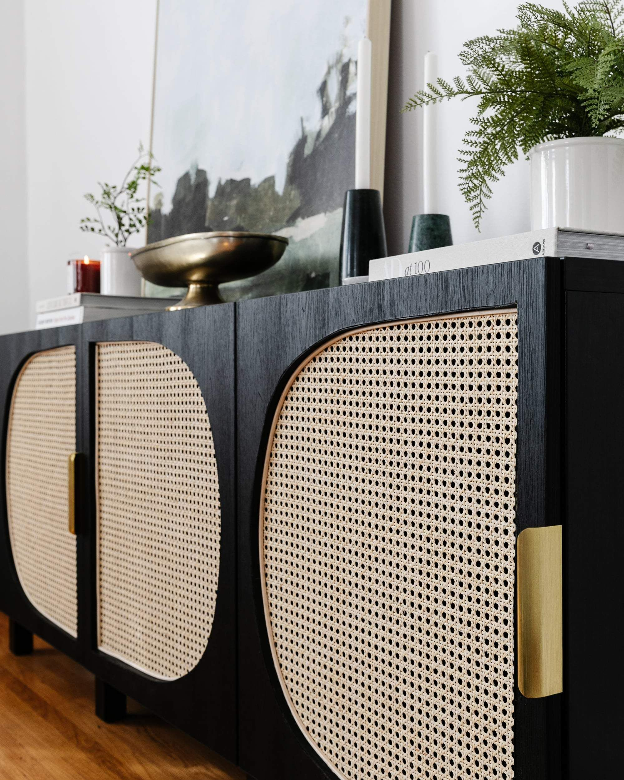 DIY Media Console Woven Cane Rattan IKEA Storage Hack BESTA TV Unit