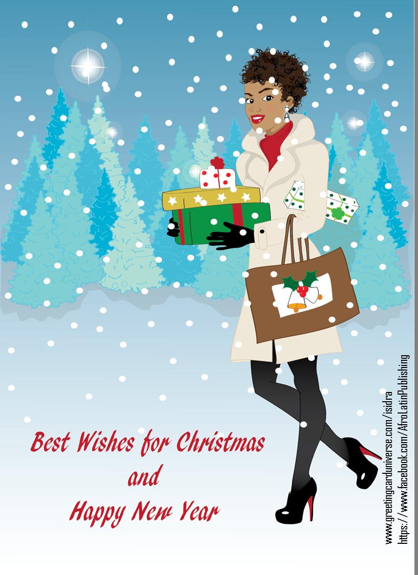 Christmas card beautiful and stylish black african american christmas card beautiful and stylish black african american woman with natural and curly kristyandbryce Image collections