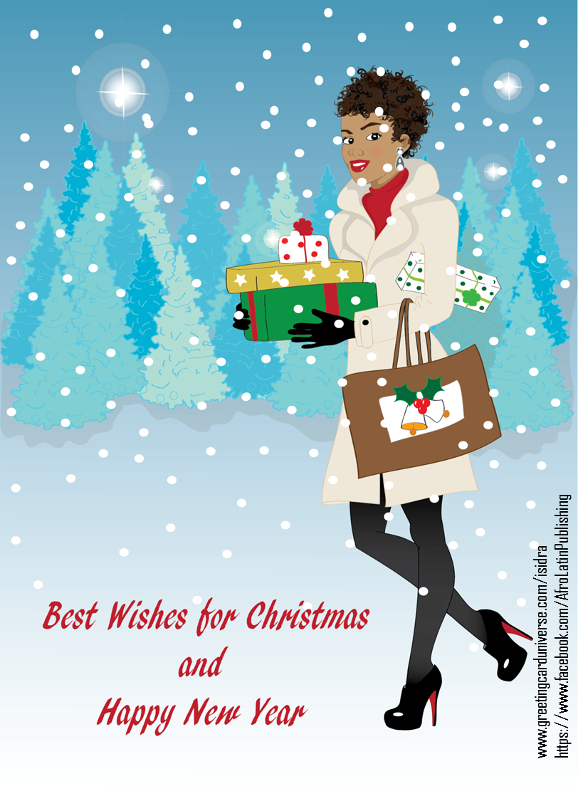 christmas  beautiful black woman in the snow with gifts